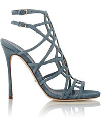 Sergio Rossi - Women's Suede Puzzle Caged Sandals - Lyst
