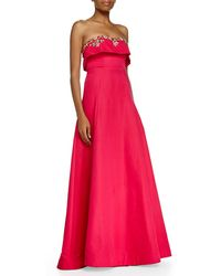 Notte by Marchesa Strapless Beaded Bodice Ball Gown - Lyst
