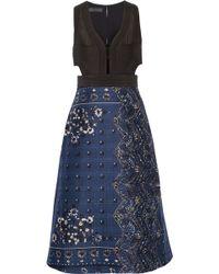Burberry Prorsum - Cutout Printed Cotton-blend Dress - Lyst