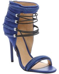 L.A.M.B. Intense Blue Suede And Leather 'Katelyn' Strappy Sandals - Lyst