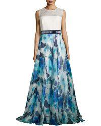 Carmen Marc Valvo - Sleeveless Combo Dress W/ Floral Skirt - Lyst