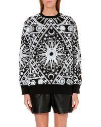 Ktz Cosmo Print Sweatshirt Black White Puff - Lyst