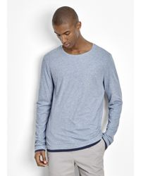 Vince | Pima Cotton Double Layer Reversible Long Sleeve Tee | Lyst