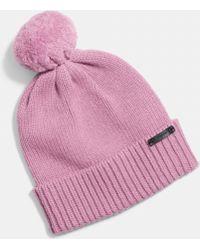 COACH Sheepskin Pom Hat - Pink