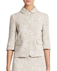 Michael Kors Crosshatch-Print Linen Cropped Jacket beige - Lyst