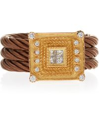 Charriol Diamond Square-Face Ring gold - Lyst