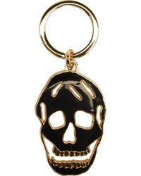 Alexander McQueen Black Enamel Cut_Out Skull Keyring - Lyst