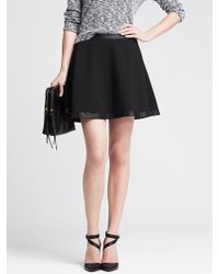 Banana Republic Faux-Leather Trim Full Skirt - Lyst