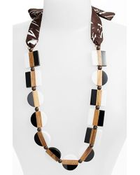 Tory Burch Colorblock Bead Ribbon Necklace - Lyst
