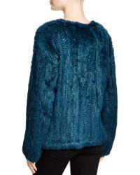 Elizabeth and James Bianca Knitted Rabbit Fur Jacket - Bloomingdale's Exclusive - Blue