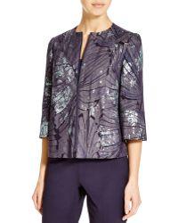 Lafayette 148 New York Athea Leaf Print Denim Jacket - Blue