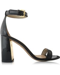 Tory Burch | Cecile Black Leather Heel Sandal | Lyst