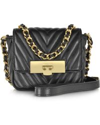 Michael Kors | Susannah Lock Black Quilted Leather Small Messenger | Lyst