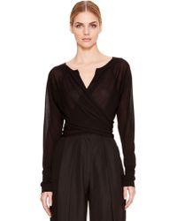 Donna Karan New York Long Sleeve Wrap Top - Lyst