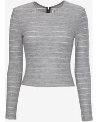L'Agence Exclusive Tonal Stripe Wool Crop Top - Lyst