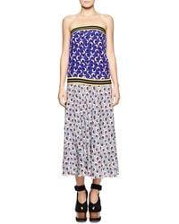 Stella McCartney Banded Strapless Printed Blouson Dress - Lyst