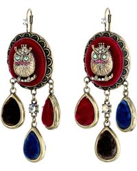 Betsey Johnson Woodland Owl Chandlier Earrings - Lyst