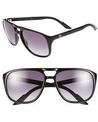 Gucci Women'S 57Mm Aviator Sunglasses - Shiny Black - Lyst