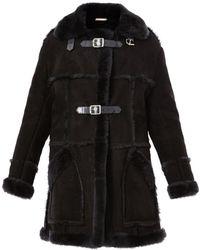 Christopher Kane Long Shearling Coat gray - Lyst