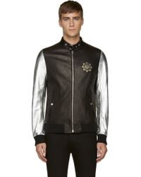 Diesel Black Gold Black and Silver Leather Lopoint Bomber Jacket - Lyst