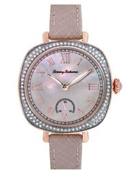 Tommy Bahama - 'lokelani' Crystal Bezel Leather Strap Watch - Lyst