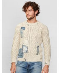 Ralph Lauren Repaired Cable-Knit Sweater - Lyst
