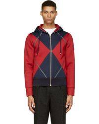 Moncler Gamme Bleu Navy and Red Neoprene Hoodie - Lyst