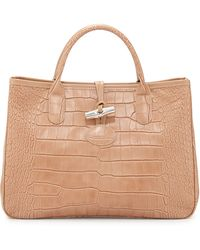 Longchamp Roseau Crocodile-Embossed Leather Tote - Lyst