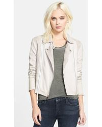 Paige 'Silvie' Suede & Leather Moto Jacket - Lyst