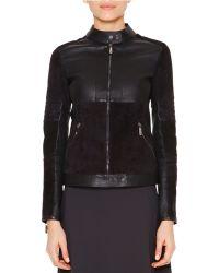 Callens Velveteen & Leather Biker Jacket - Black