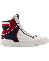 Balmain Leather High-Top Sneakers - Lyst
