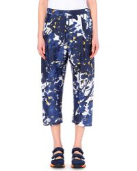 Marni Floral-Print Silk Trousers - For Women - Lyst