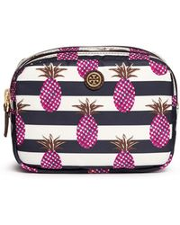 Tory Burch 'Kerrington' Pineapple Print Small Double Cosmetic Case - Lyst