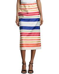 Stella McCartney Striped Midi Skirt - Lyst