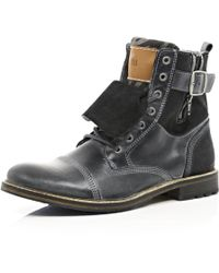 River Island Grey Leather Distressed Boots - Lyst