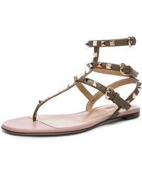 Valentino Rockstud Gladiator Leather Sandals T.05 - Lyst