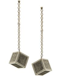 Stephanie Bates Concrete Cube Drops Earrings - Gray