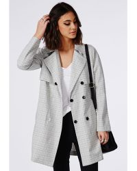 Missguided Check Buttoned Trench Coat Grey - Lyst