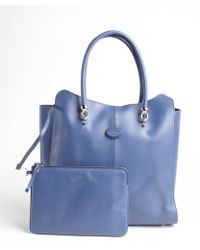 Tod's Imperial Blue Leather Logo Stamp Top Handle Large Tote - Lyst