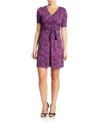 Donna Morgan Printed Wrap Dress - Lyst