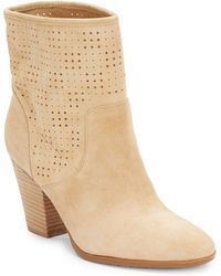 Enzo Angiolini Gettup Laser-Cut Suede Ankle Boots - Lyst