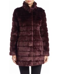 Eliza J - Faux Fur Ribbed Coat - Lyst