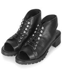 Topshop Freckle Premium Leather Sandals black - Lyst