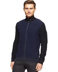 Calvin Klein Ck Premium Boiled Wool Colorblocked Full-zip Sweater - Lyst
