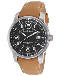 Ben Minkoff - West Side Tan Genuine Leather Black Dial Ss - Lyst