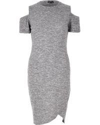 River Island Gray Cold Shoulder Dress