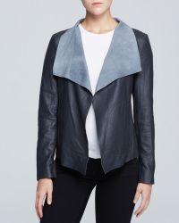 DKNY Draped Lambskin Leather Jacket - Lyst