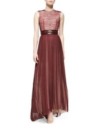 Catherine Deane Mira Combo Lace Chiffon Gown - Lyst