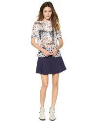 Rebecca Minkoff - Liv Pleated Skirt Navy - Lyst