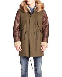 DIESEL | W-nick Shearling & Faux-fur Trimmed Coat | Lyst